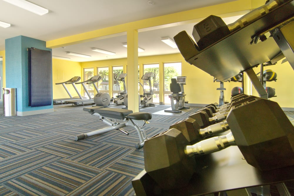 Fully equipped fitness center at Sandpiper Apartments in Holladay, Utah