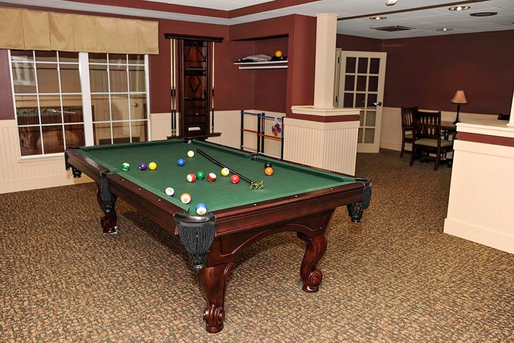 Billiards table at Racquet Club Apartments in Rochester, NY