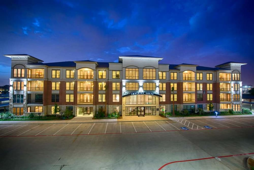 Our beautiful illuminated building at Imperial Lofts in Sugar Land, Texas