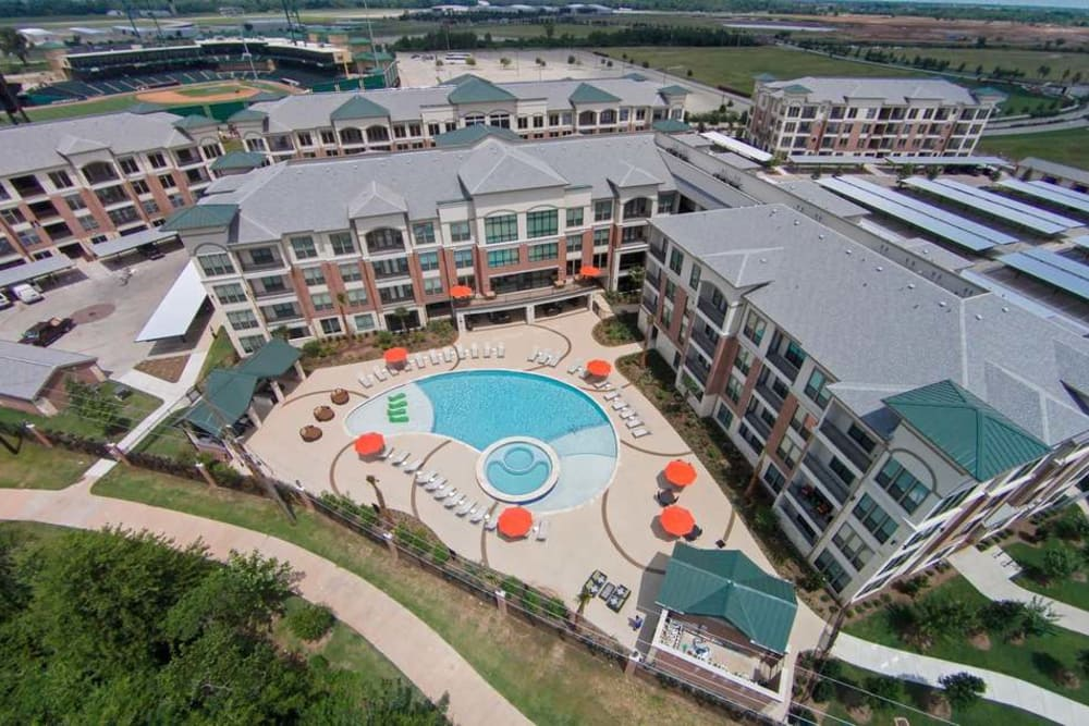 Aerial view of Imperial Lofts in Sugar Land, Texas