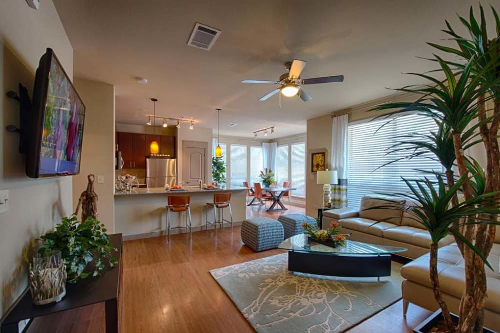 Beautiful living room at Imperial Lofts in Sugar Land, Texas