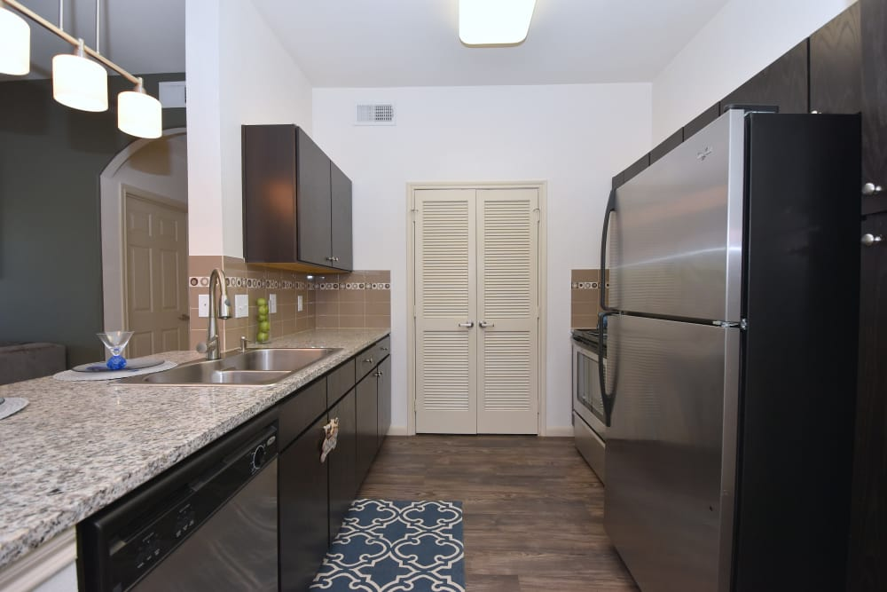 Galley kitchen at Midtown Grove Apartments