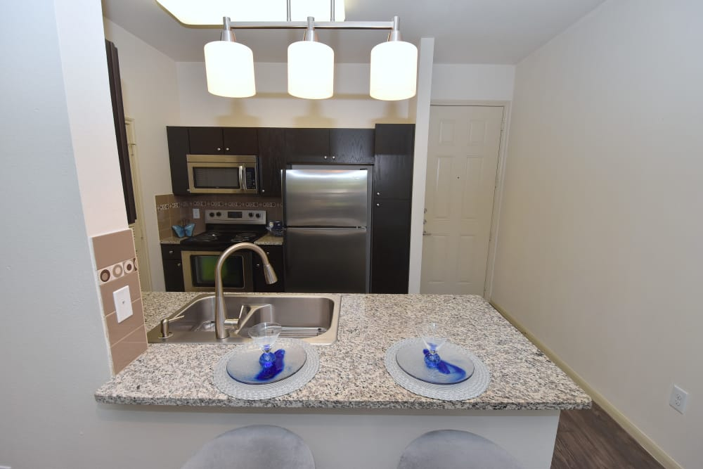 Pass through kitchen at Midtown Grove Apartments