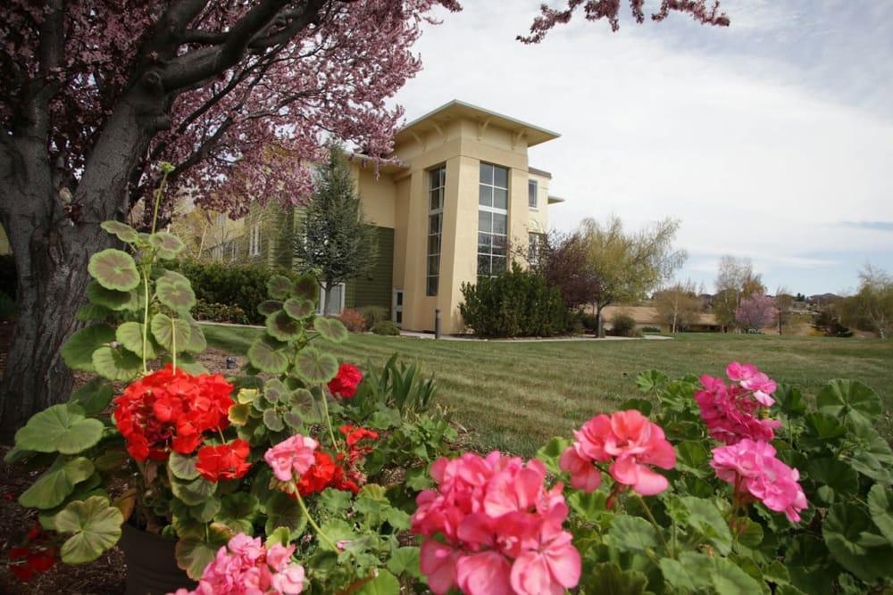Flower garden outside of Crystal Terrace of Klamath Falls in Klamath Falls