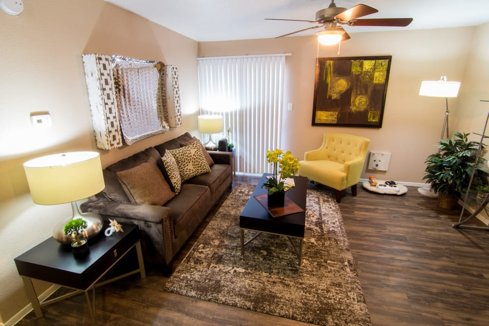 Living room with a view at Deerbrook Forest Apartments