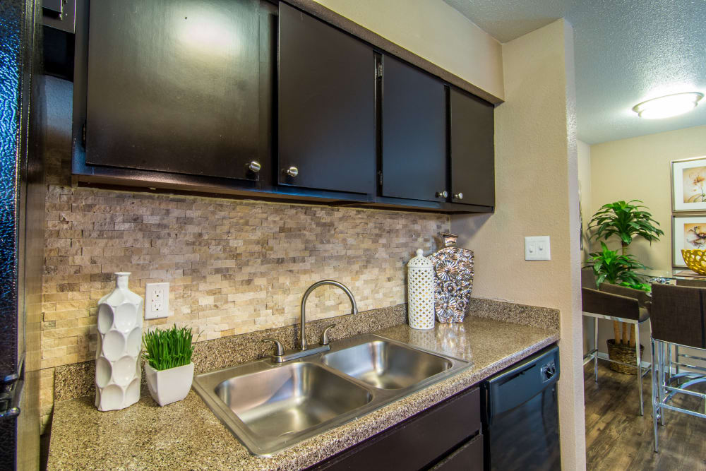 Kitchen counters at Deerbrook Forest Apartments