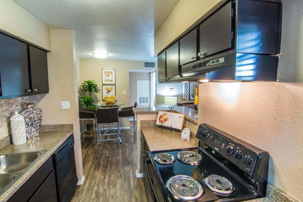 Kitchen stove at Deerbrook Forest Apartments