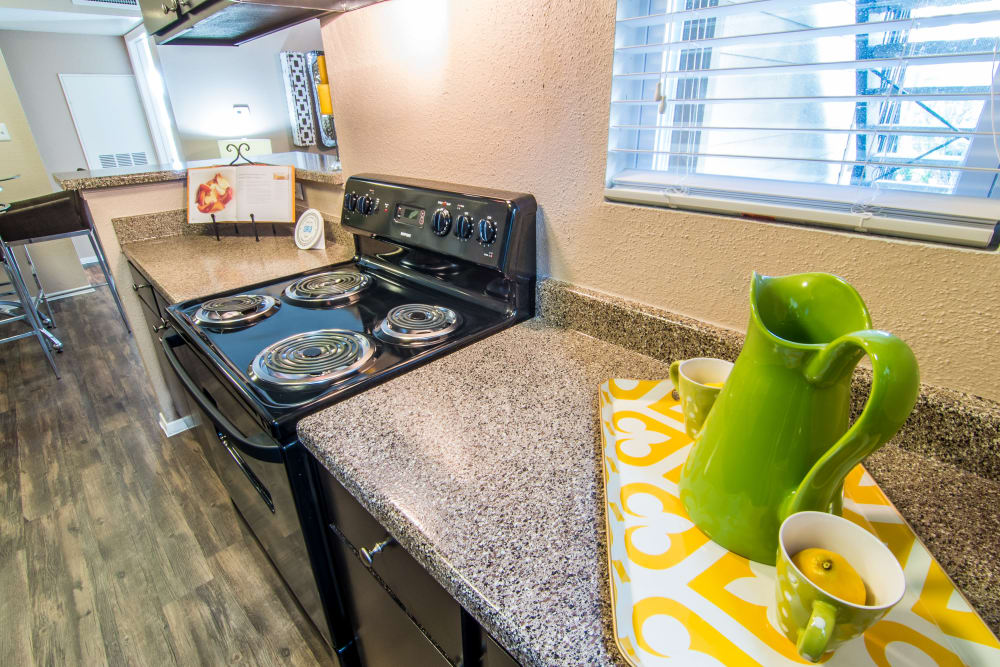 Plenty of kitchen counter space at Deerbrook Forest Apartments