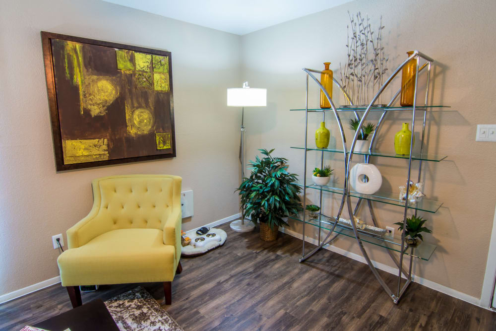 Well-lit living room at Deerbrook Forest Apartments