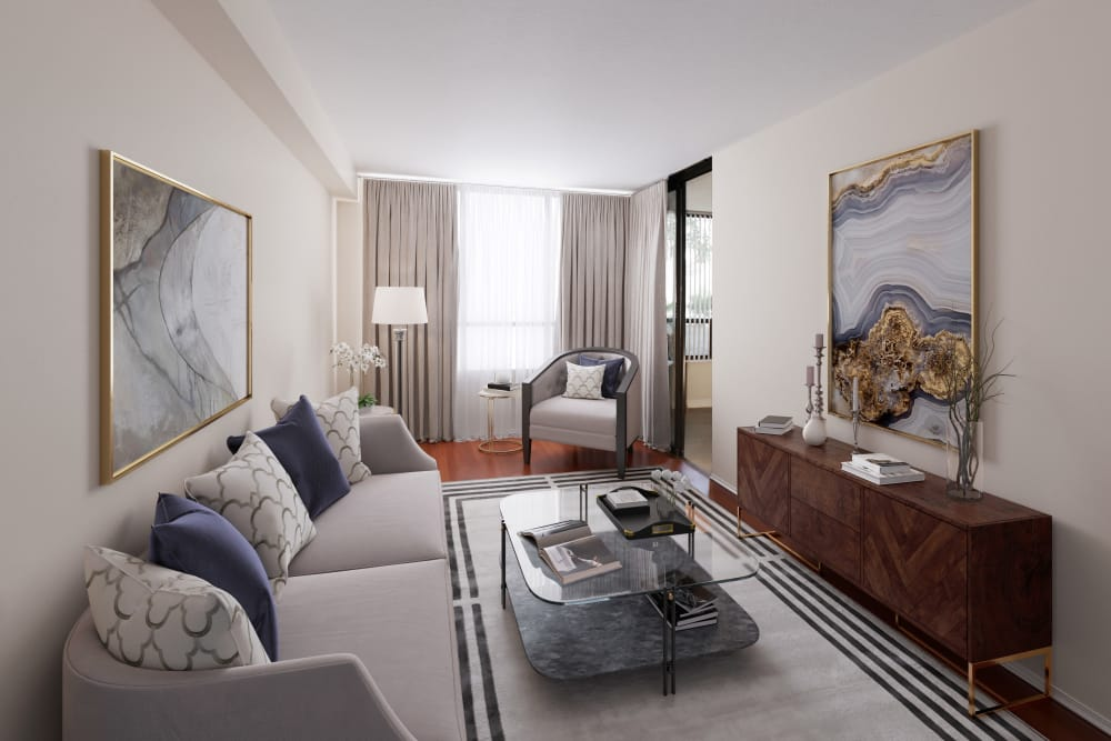 Beautiful living room at The Galleria in North York