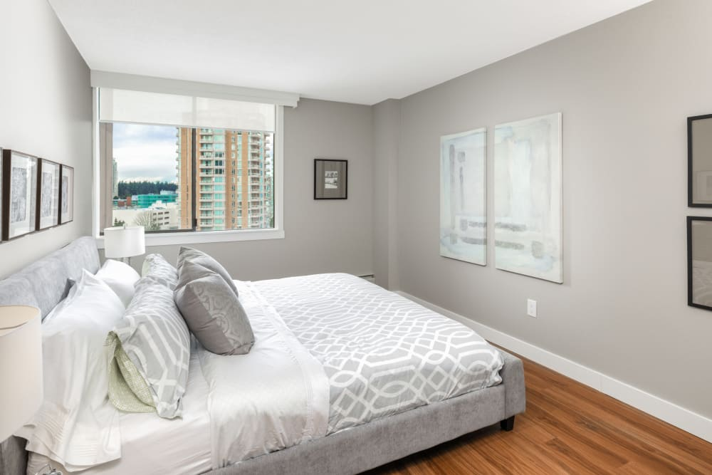 Master bedroom at Parkview Towers in Burnaby