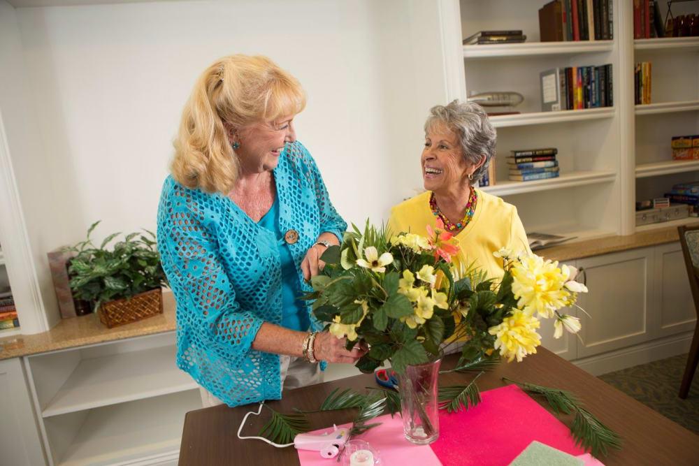 Arranging flowers in Bonita Springs