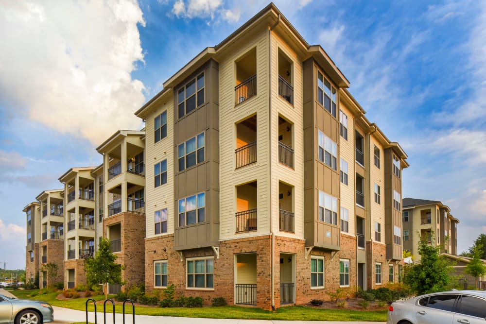 Beautiful apartment buildings at Axis Berewick in Charlotte, North Carolina