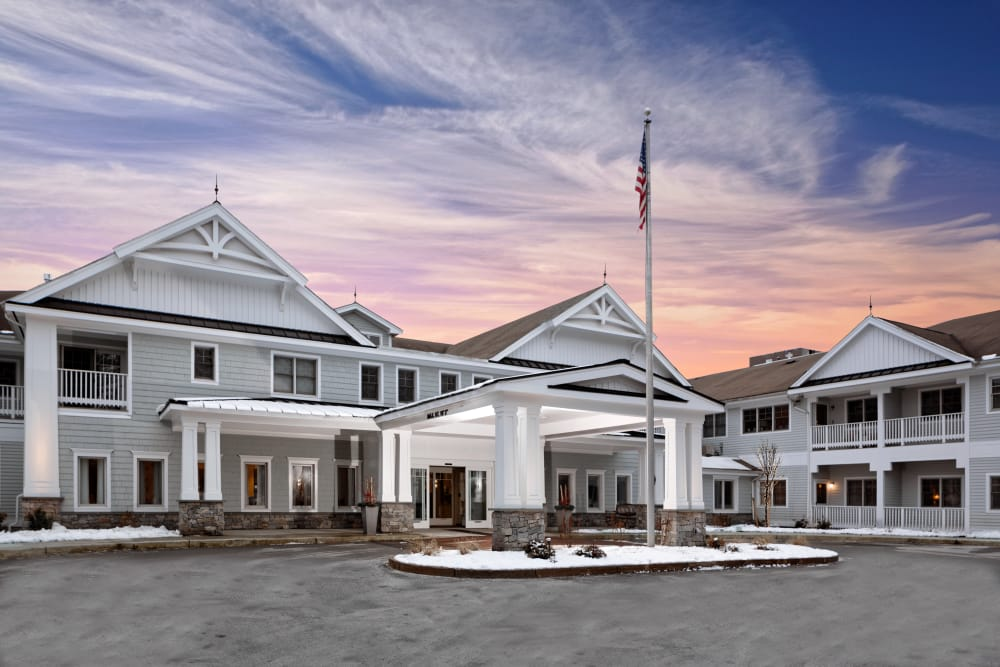 Clubhouse entrance at Maplewood at Weston in Weston, Massachusetts
