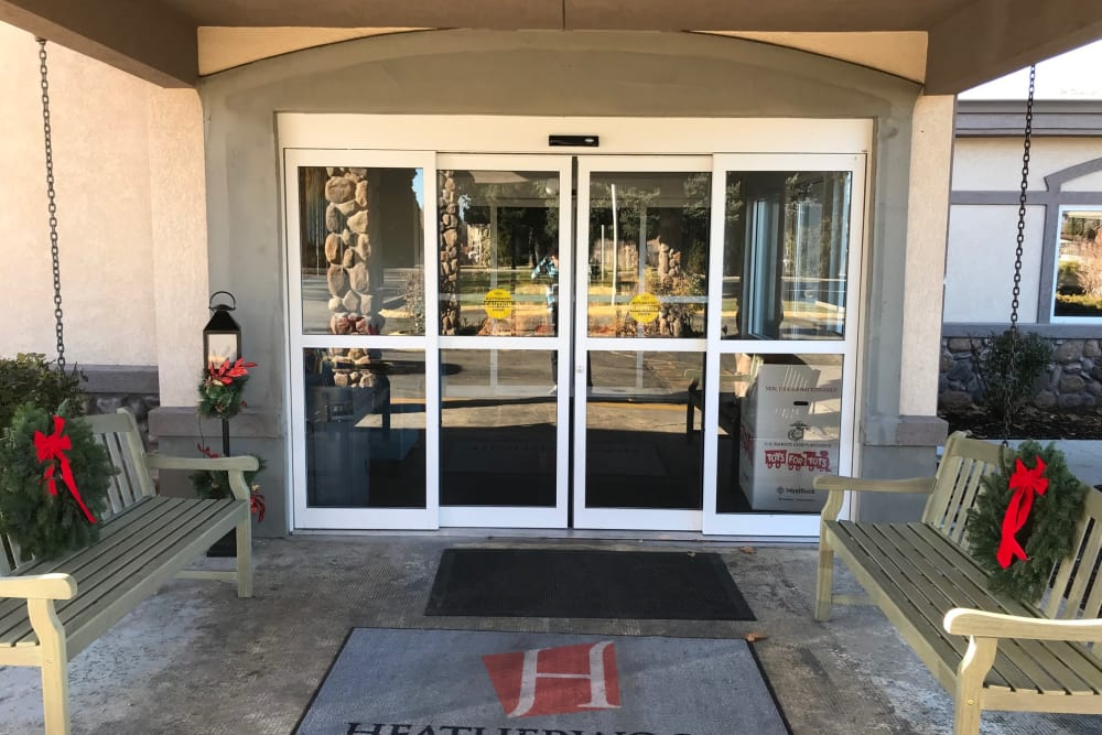 Front entrance at senior living facility in Boise, Idaho