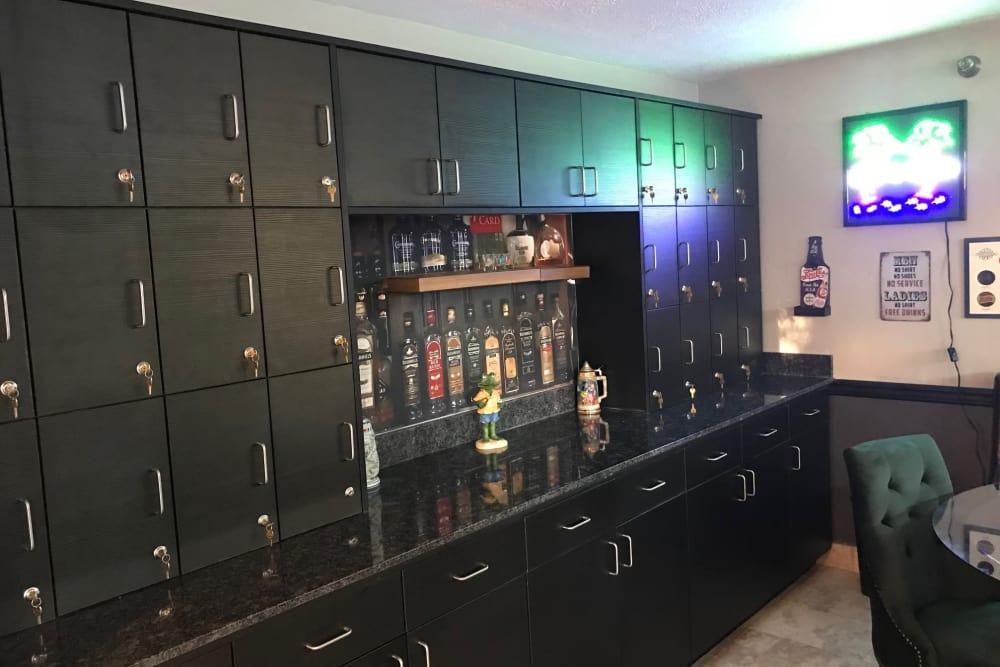 Bar with locked storage at Heatherwood Senior Living in Boise, Idaho