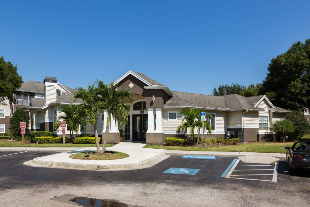 Leasing office exterior at Alvista Sterling Palms in Brandon, Florida
