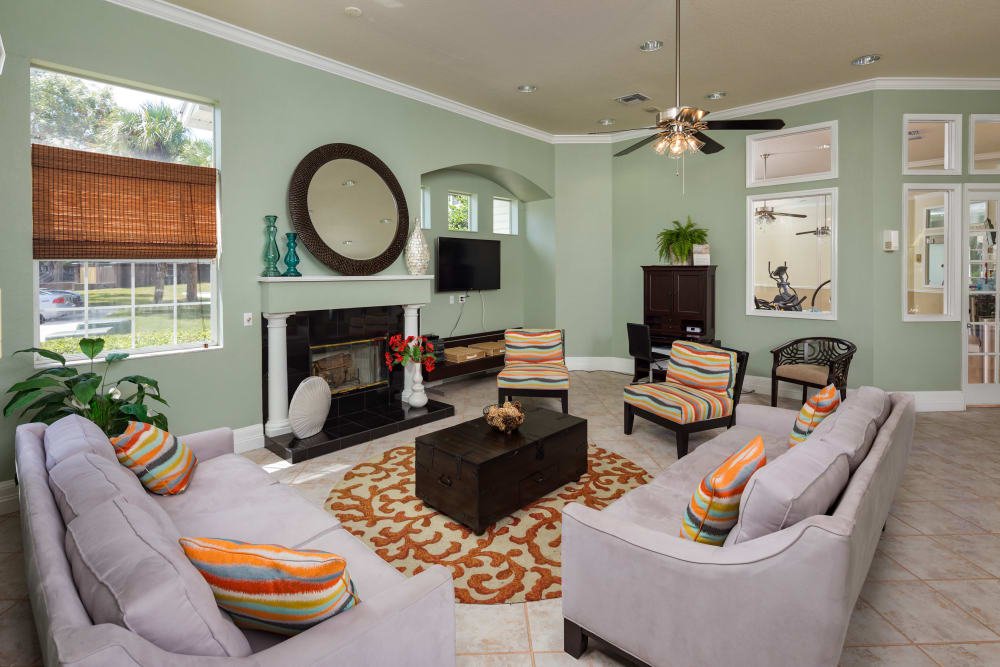 Comfortable seating in the clubhouse at Alvista Sterling Palms in Brandon, Florida