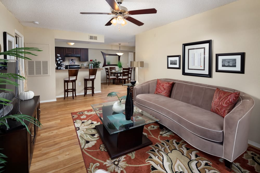 Living room in model home at Tuscany Villas of Brandon Apartment Homes