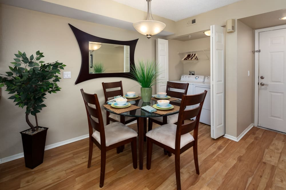 Dining area in model home at Alvista Sterling Palms in Brandon, Florida