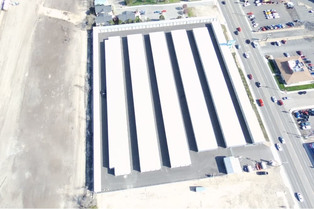 high aerial view of BIG Storage's storage units in Nampa, ID