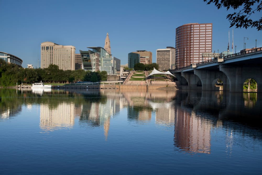Skyline of Hartford, Connecticut, taken from the Connecticut River near Regency Place Apartments