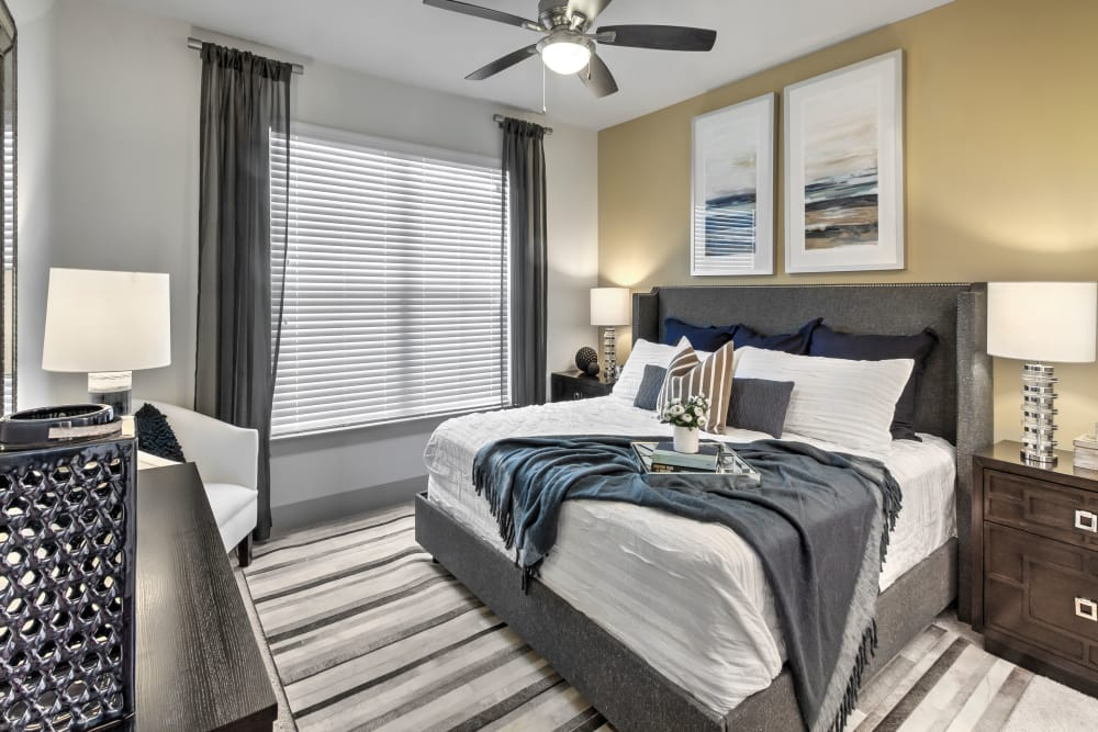Model bedroom at Juncture in Alpharetta, Georgia