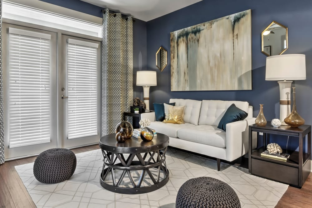 Model living room at Juncture in Alpharetta, Georgia