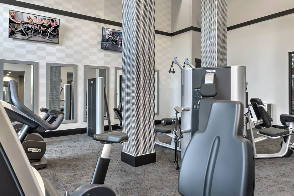 Fully-equipped fitness center at Juncture in Alpharetta, Georgia