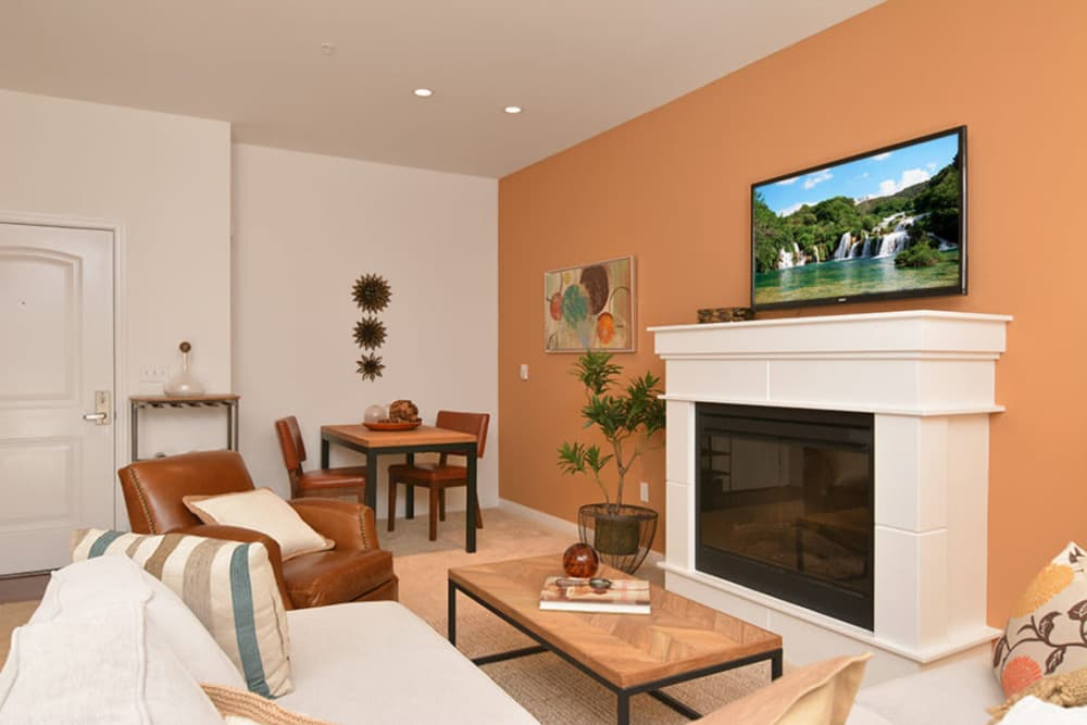 Living room with fireplace at Chateau Woods Apartments