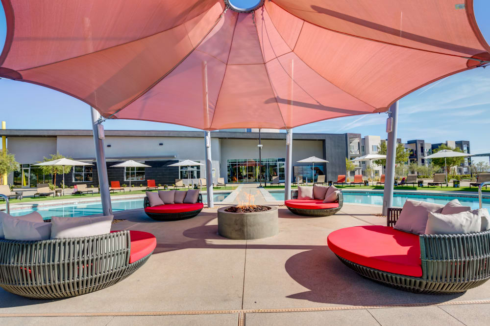Poolside seating at Zerzura Apartments in Las Vegas, Nevada