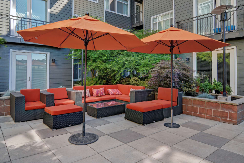 Seating area at Chateau Woods Apartments in Woodinville , WA