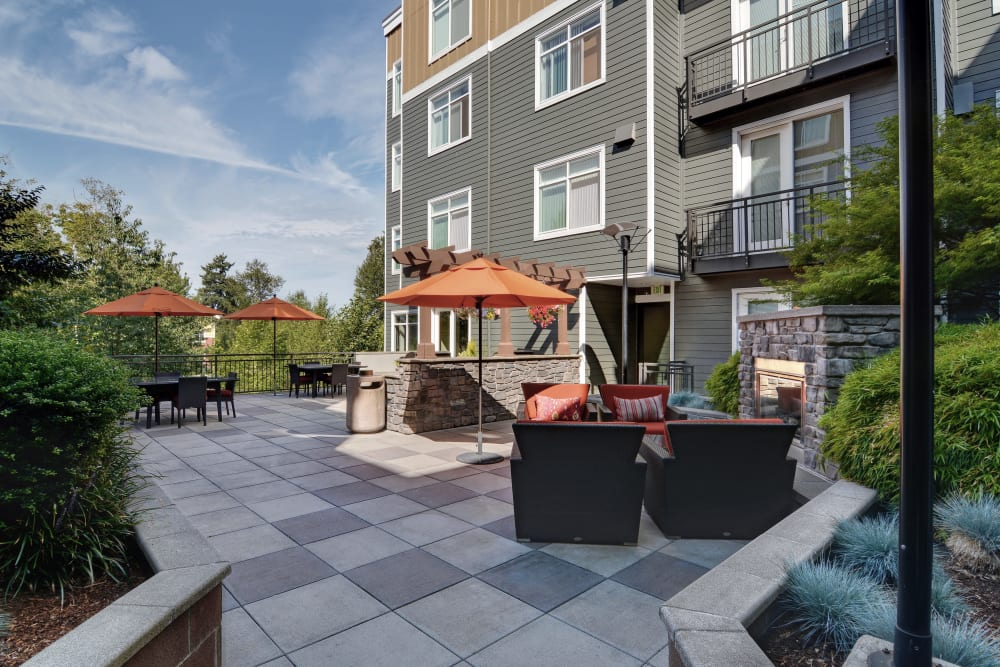 Patio at Chateau Woods Apartments in Woodinville, WA