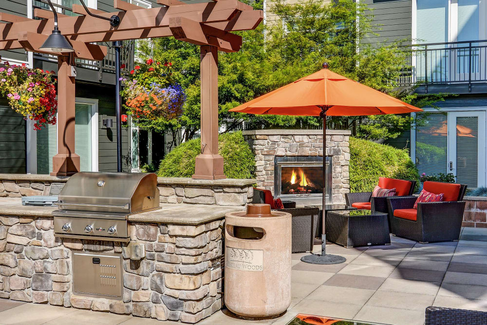 BBQ area at Chateau Woods Apartments in Woodinville, WA