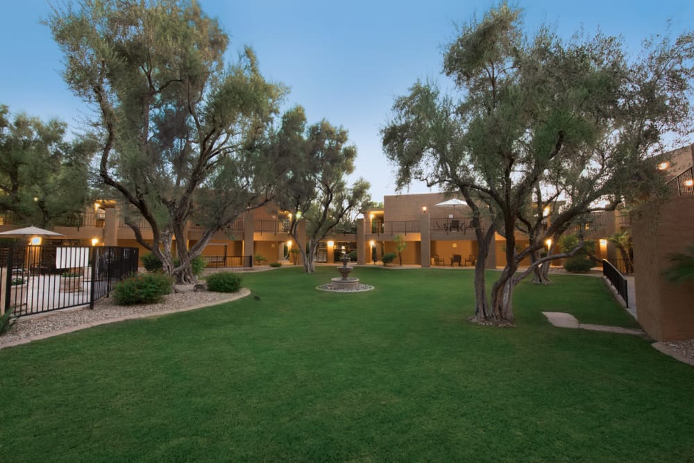 An exterior view of the beautiful campus at Scottsdale Village Square, A Pacifica Senior Living Community