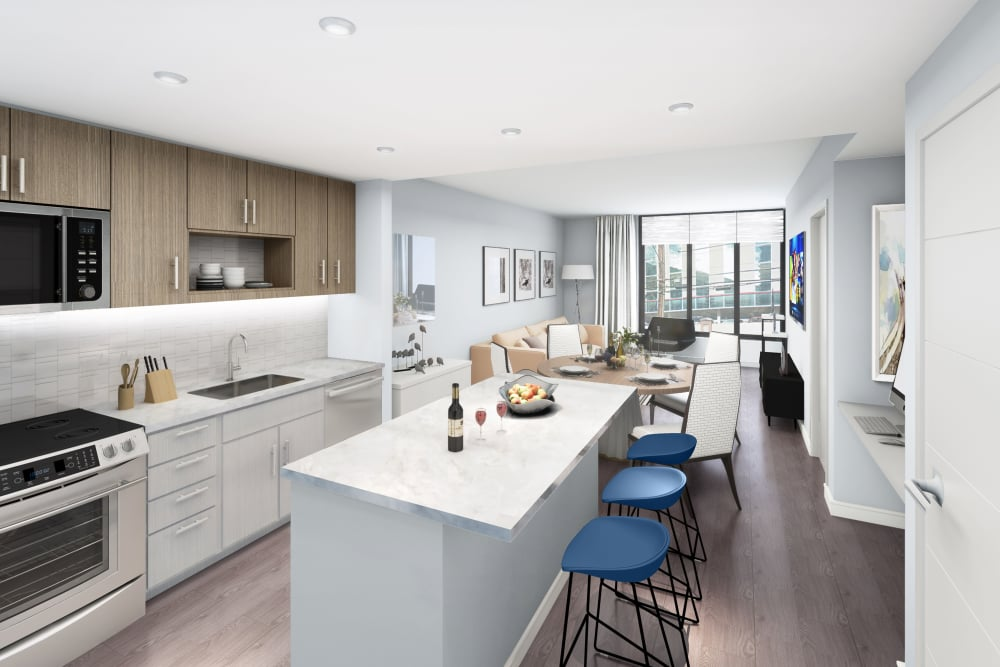 Rendering of modern kitchen with open-concept living space in the background at Gallery Bethesda II in Bethesda, MD