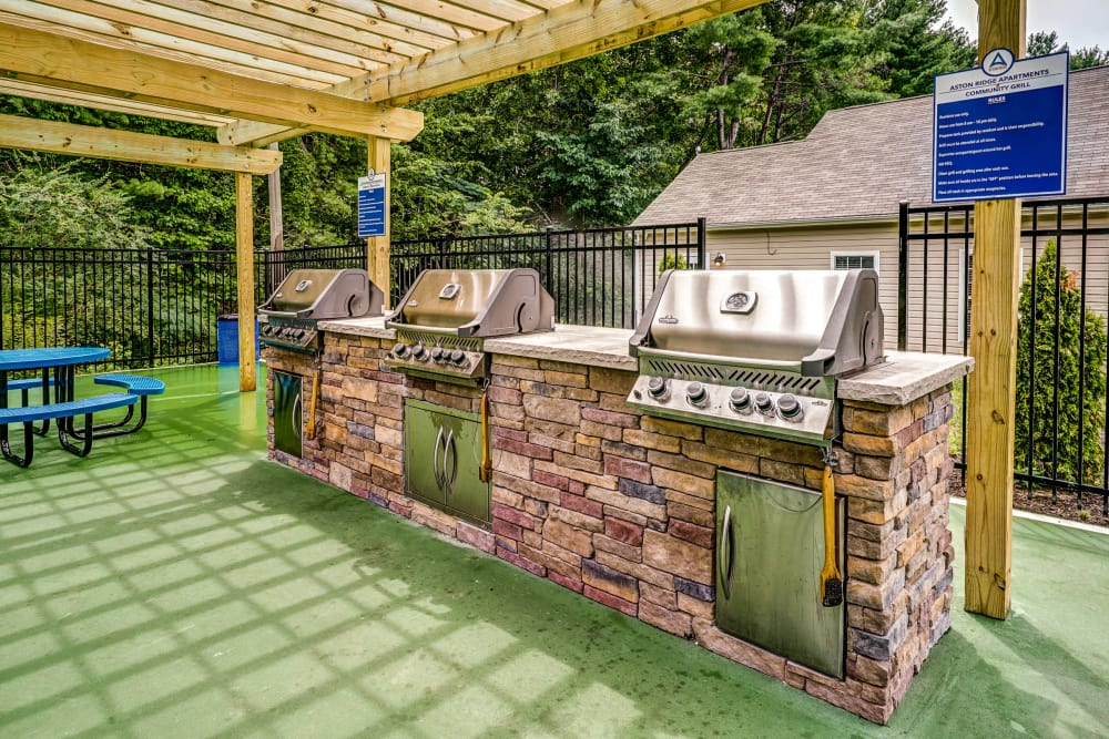 Grilling area at Aston Ridge Apartments