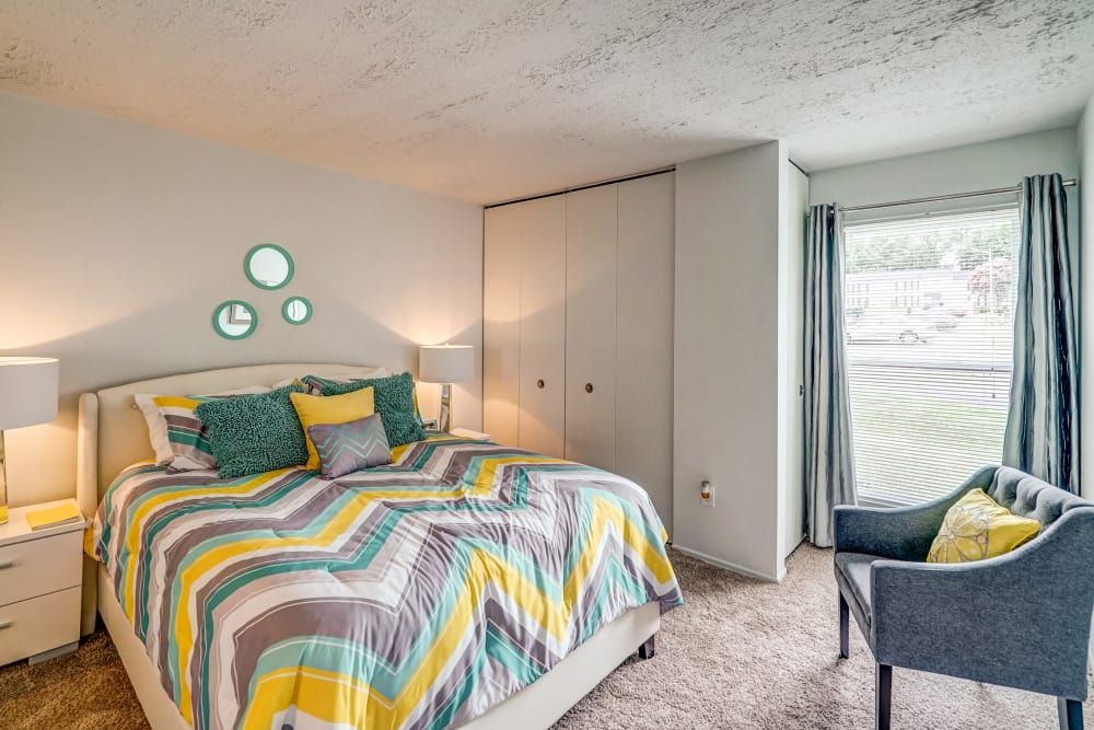 Well decorated bedroom at Aston Ridge Apartments in Richmond, Virginia