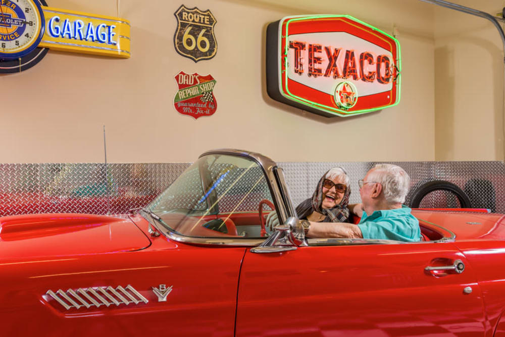 Emmet's Garage with Classic Car At Our Longview Senior Living Community