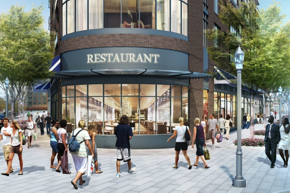 Rendering of street level with anchor restaurant at Gallery Bethesda II in Bethesda, MD