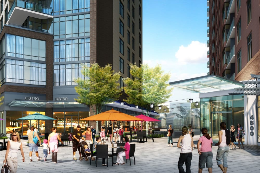 Rendering of plaza level exterior at Gallery Bethesda II in Bethesda, MD