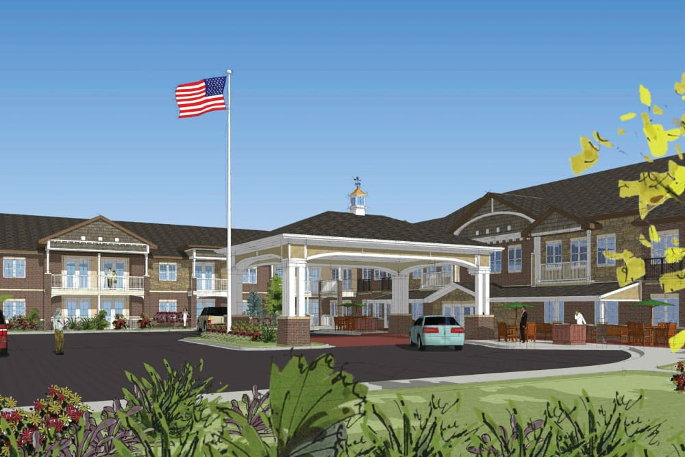 Exterior rendering of Burr Ridge Senior Living