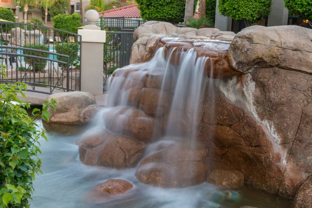 A mesmerizing water feature at San Marin at the Civic Center in Scottsdale, Arizona