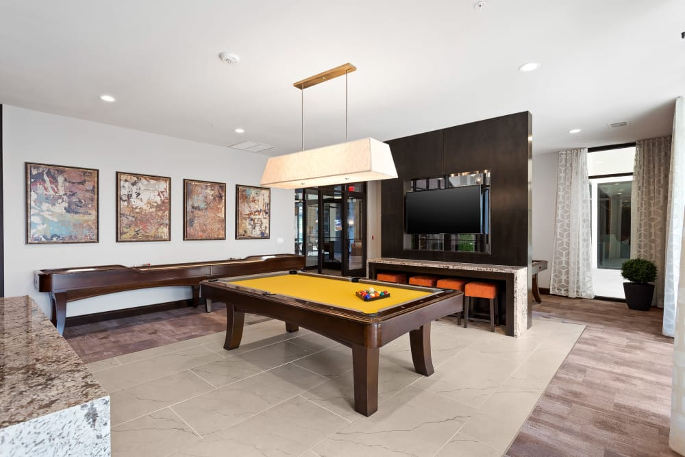 Billiards table in the clubhouse at Villas at the Rim in San Antonio, Texas