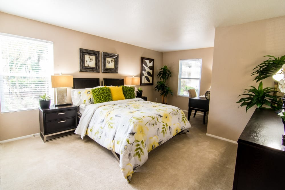 Master bedroom with natural light at Deerbrook Forest Apartments