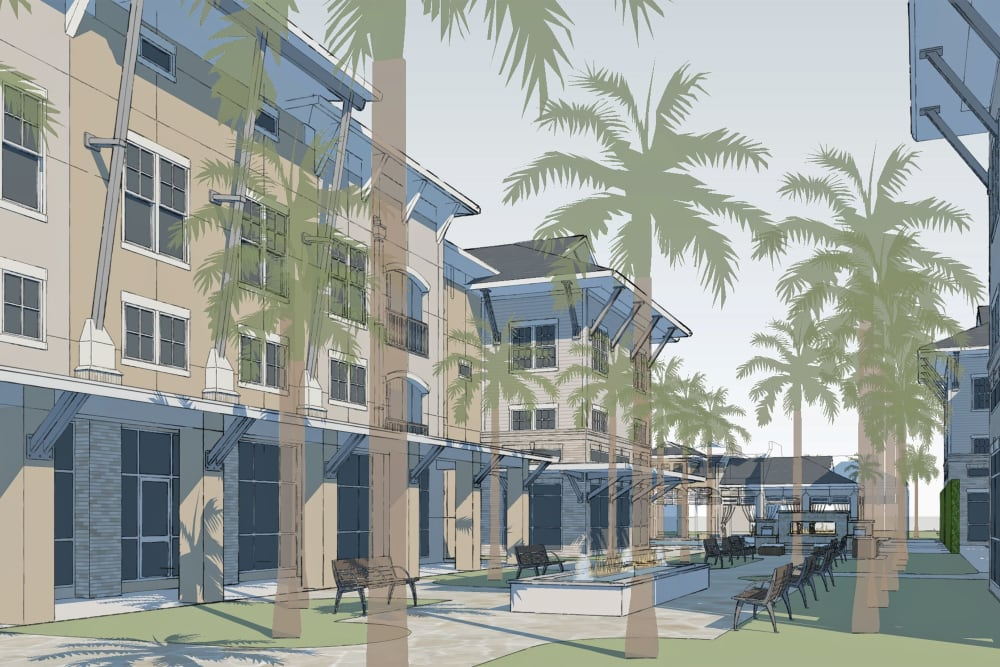 Architectural render of Park Rowe Village at Perkins Rowe