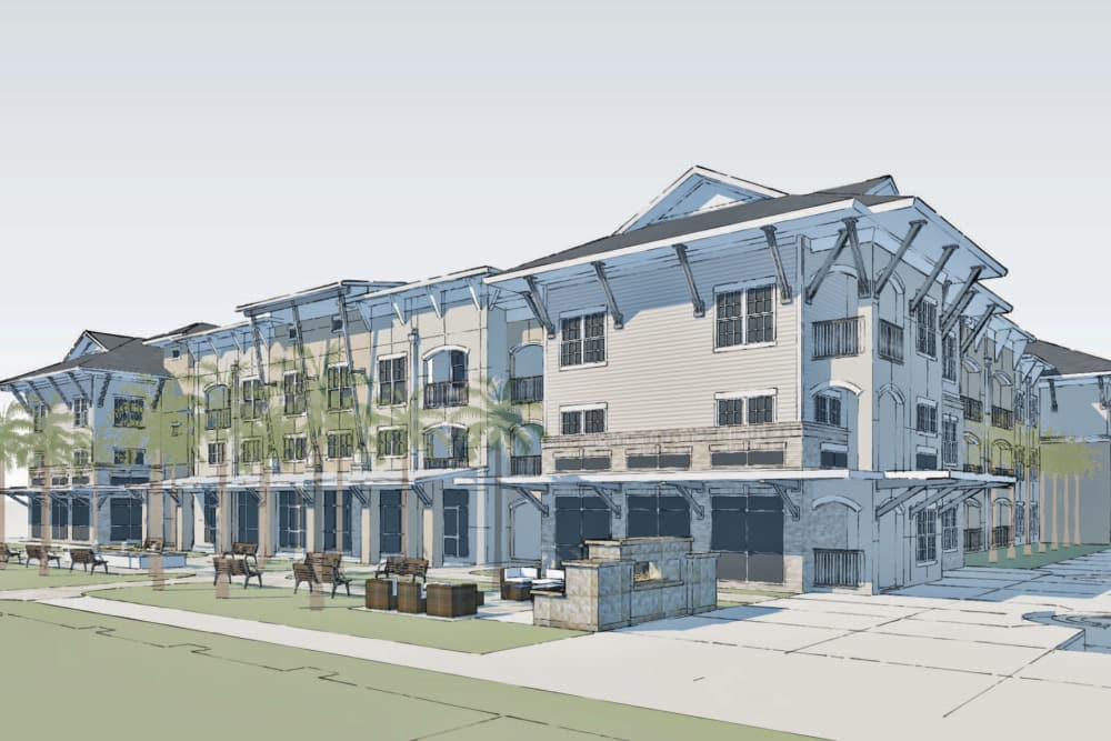 Building rendering of Park Rowe Village at Perkins Rowe in Baton Rouge, Louisiana