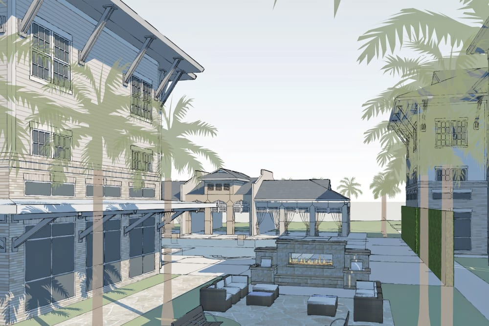 Architectural render of Park Rowe Village at Perkins Rowe in Baton Rouge, Louisiana