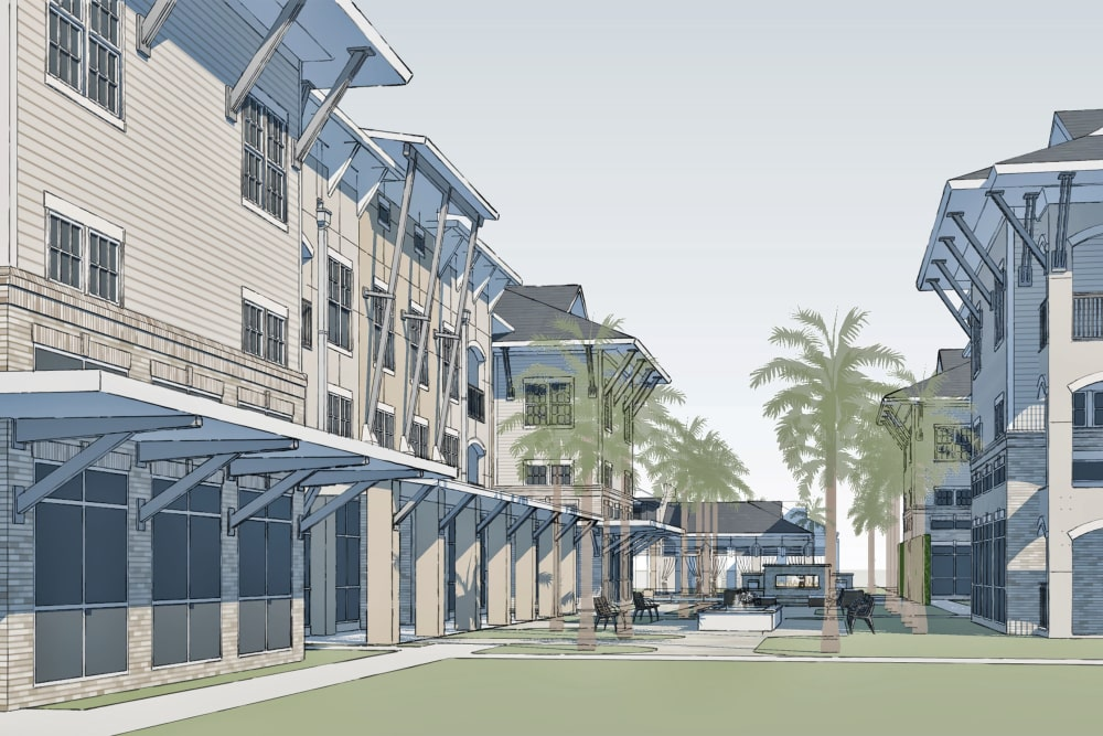 Outside architectural render of Park Rowe Village at Perkins Rowe