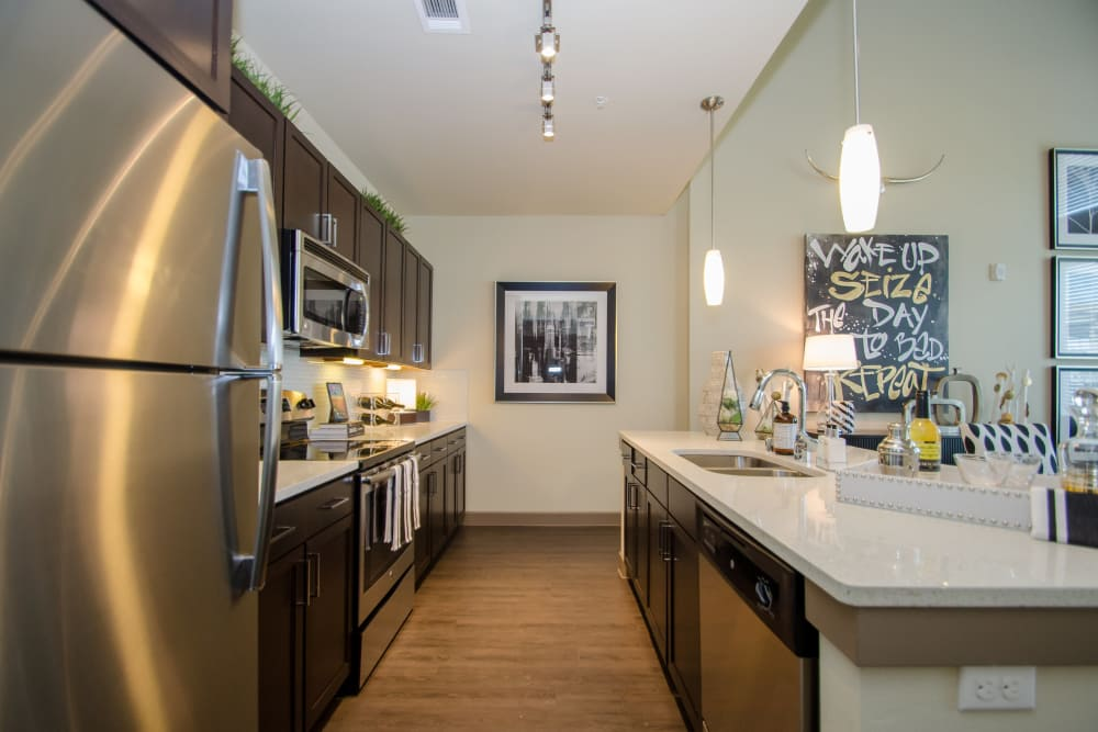 Kitchen at GreenVue Apartments in Richardson